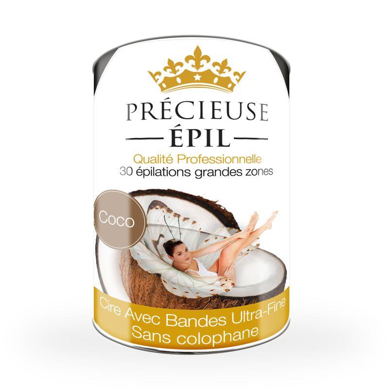 Pot de cire coco precieuse-epil avec-bande 800g sans colophane